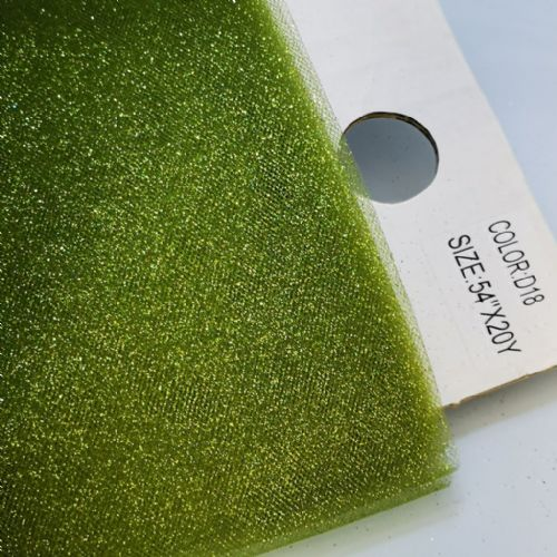 "Grass Green Glitter Tulle 54"" / 20 Y  / D18"